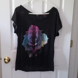 Torrid Burnout Black T-shirt with Rose, Size 1